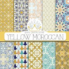 moroccan wrapping paper moroccan digital paper yellow moroccan with