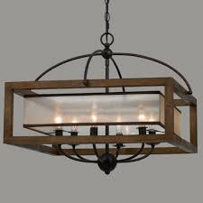 Indoor Chandeliers Chandelier Square Wood Frame And Sheer Chandelier 6 Light