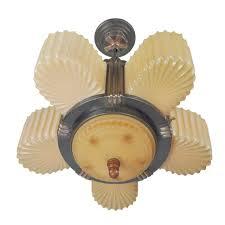 streamline art deco antique six light slip shade chandelier by