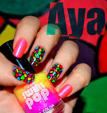 neon color zebra print nail art design