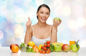 people diet gesture and vegetarian concept happy asian woman