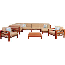 Sc Patio Furniture by Amazonia Derbyshire 6 Person Eucalyptus Patio Sectional Set With