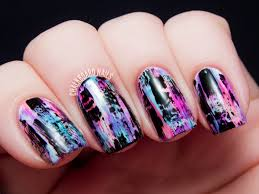 tutorial distressed nail art punk grungy effect chalkboard