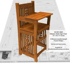Craftsman Furniture Plans 05 Wc 0924e Mission Style Baby Highchair Woodworking Plan