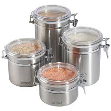 kitchen canister sets stainless steel vonshef stainless steel 4 kitchen canister set reviews