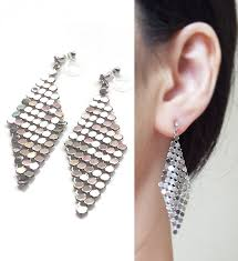 silver mesh invisible clip on earrings dangle silver clip on