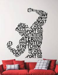 fitness wall decal gym vinyl stickers sports room decor home zoom