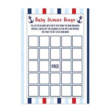baby shower bingo nautical baby shower bingo cards 20 count ebay