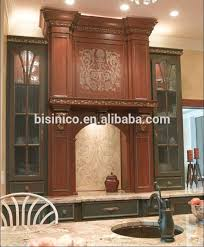 luxury solid wood hand carved inlay kitchen cabinet antique