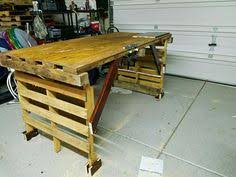 diy pallet work table workbench made with 3 pallets no tools no nails no screws