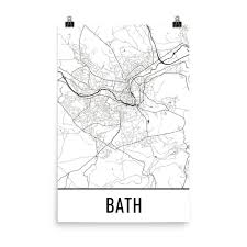 Bath England Map by Bath England Street Map Poster Wall Print By Modern Map Art