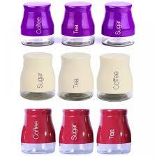 set of 3 kitchen storage canisters tea coffee sugar jars pots