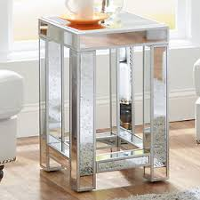 Glass Accent Table Mirrored Glass Accent Table Living Room Bedroom Decor Nightstand