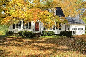new houses being built with classic new england style classic new england american house exterior during fall stock