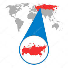 World Map Flat by World Map With Zoom On Russia Russian Federation Map In Loupe