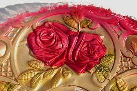 glass roses 1900s vintage goofus glass carnival dishes glass roses