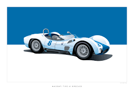 maserati birdcage iconic racing car posters by arthur schening
