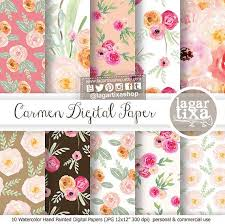Shabby Chic Wedding Shower by Shabby Chic Roses Watercolor Digital Paper Florals Wedding