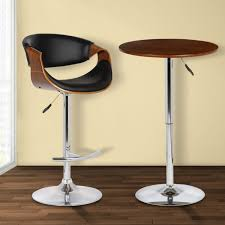 living butterfly adjustable swivel barstool in black pu with