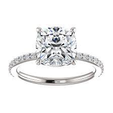 cushion engagement rings 2 5 carat forever brilliant moissanite engagement ring