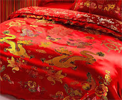 duvet covers cotton traditional wedding kit wine red bedding set