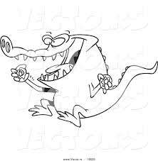 vector of a cartoon alligator eating a donut outlined coloring