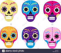 sugar skull set icon flat style dead skeleton