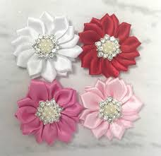 satin ribbon flowers 1 5 satin ribbon flowers small satin flowers pearl rhinestone