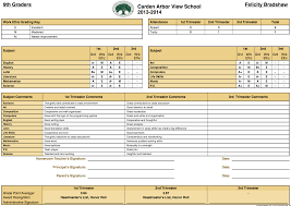high school student report card template the carden arbor view school report cards school management