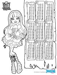 multiplication table monster high coloring pages hellokids com
