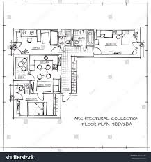 architectural hand drawn floor planthree bedrooms stock vector