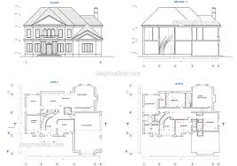 free modern house plans home architecture two story house plans dwg free cad blocks