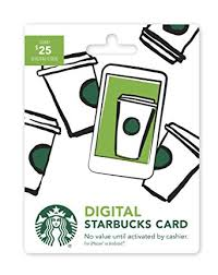 digital gift card starbucks digital gift card 25 no plastic card