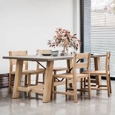 verita trestle dining table oak u0026 concrete oak dining furniture