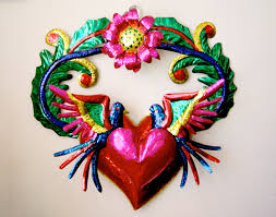 a shiny and glittery mexican folk art christmas wall ornaments