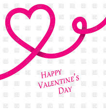 happy valentine u0027s day heart shaped pink ribbon vector clipart