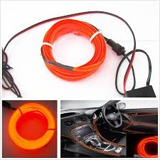Neon Decoration Interieur 2017 2m 12v Orange El Wire Car Interior Unique Decor Fluorescent