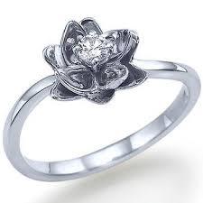 flower design round shape diamond engagement ring 14k white gold