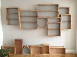 Box Shelves Wall by Reclaimed Floor Board Box Shelves Old Floorboard Projects