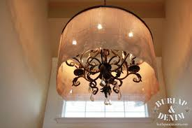 Drum Shade Chandelier Lighting Diy Barrel Shade Chandelier Burlap U0026 Denimburlap U0026 Denim
