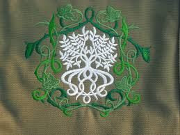 elven tree bag embroidered design on cotton canvas reporter bag