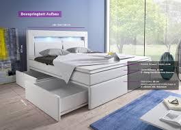 Betten Schlafzimmer Amazon Boxspringbett 140x200 Weiß Mit Bettkasten Led Kopflicht Kunstleder