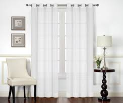 amazon com premium white sheer curtains sheer voile white