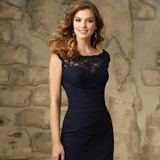 navy blue lace bridesmaid dress wholesale 2016 wedding dress fitted of honor chiffon