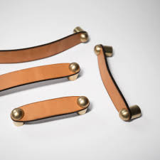 Handles For Cabinets For Kitchen Wyatt Brass U0026 Leather Drawer Pull Tan Leather Our Wyatt Pulls