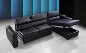Leather Sofa Beds With Storage Espresso Leather Modern Sectional Sofa Bed W Storage