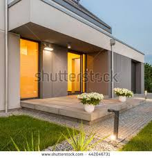 photo modern house outdoor lighting night stock photo 437067727