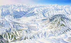 Colorado Ski Map by Wildhorse Crested Butte Colorado James Niehues Map Artist