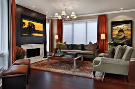 Contemporary Orange Curtains Designs Brown Orange Curtains With Beige Marble Fireplace Family Room