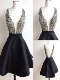 graduation dresses black v neck prom dresses with beaded bodice black